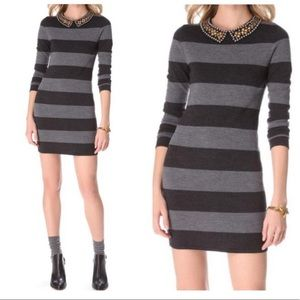 Gryphon Studded Collar Rugby Stripe Sweater Dress